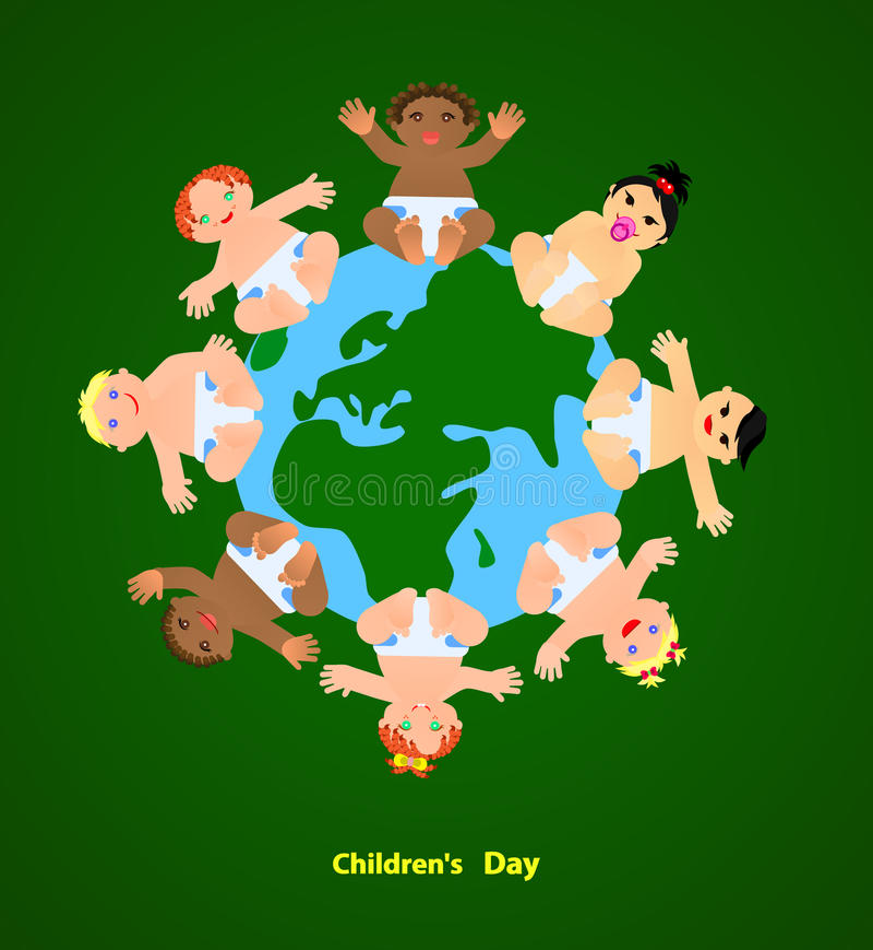 Τα αστεία παιδιά είναι στον πλανήτη απεικόνιση αποθεμάτων