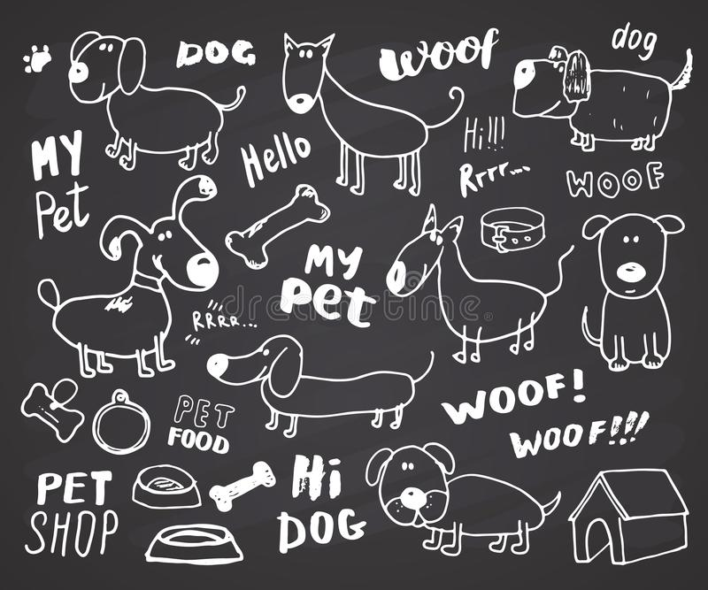 Τα αστεία σκυλιά doodle θέτουν Συρμένη χέρι σκιαγραφημένη διανυσματική απεικόνιση συλλογής κατοικίδιων ζώων στο υπόβαθρο πινάκων  διανυσματική απεικόνιση