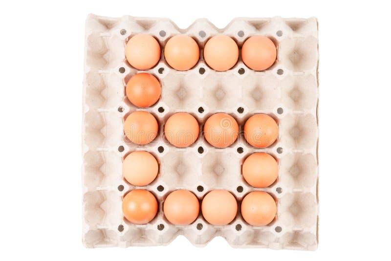Τα αυγά κοτόπουλου στο κιβώτιο δίσκων εμπορευματοκιβωτίων εγγράφου που τακτοποιείται μοιάζουν με τον αριθμό είναι ` 6 ` στοκ εικόνες με δικαίωμα ελεύθερης χρήσης