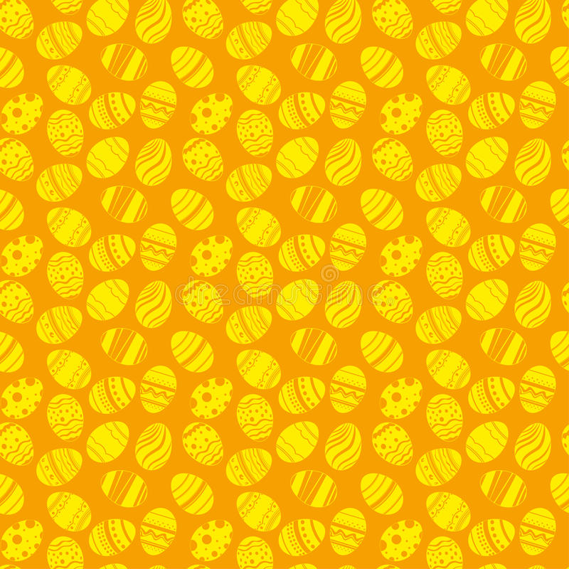 Τα αυγά Πάσχας διακοσμούν το άνευ ραφής σχέδιο Πορτοκαλί και κίτρινο υπόβαθρο διακοπών Πάσχας για την εκτύπωση στο ύφασμα, έγγραφ ελεύθερη απεικόνιση δικαιώματος