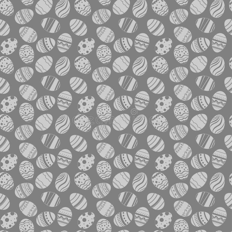 Τα αυγά Πάσχας διακοσμούν το άνευ ραφής σχέδιο Grauy και άσπρο υπόβαθρο διακοπών Πάσχας για την εκτύπωση στο ύφασμα, έγγραφο για, διανυσματική απεικόνιση