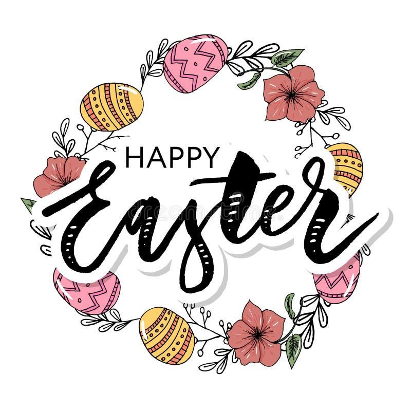 Το πλαίσιο Πάσχας με τα αυγά Πάσχας δίνει το συρμένο Μαύρο στο άσπρο υπόβαθρο Διακοσμητικό πλαίσιο από τα αυγά Αυγά Πάσχας με τα  διανυσματική απεικόνιση