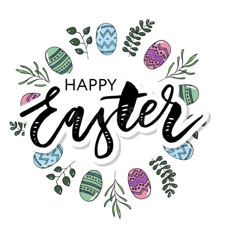Το πλαίσιο Πάσχας με τα αυγά Πάσχας δίνει το συρμένο Μαύρο στο άσπρο υπόβαθρο Διακοσμητικό πλαίσιο από τα αυγά Αυγά Πάσχας με τα  απεικόνιση αποθεμάτων