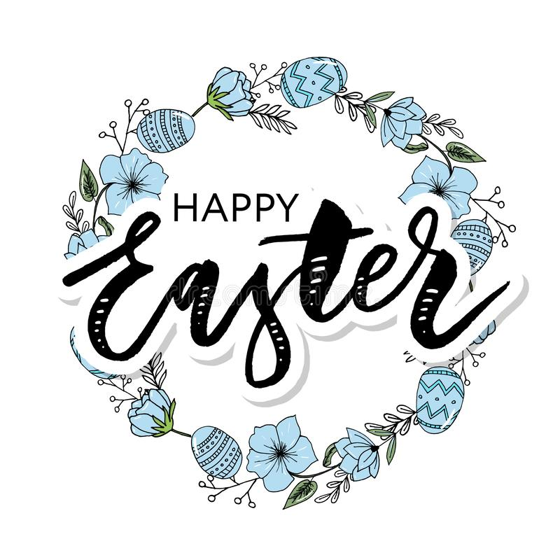 Το πλαίσιο Πάσχας με τα αυγά Πάσχας δίνει το συρμένο Μαύρο στο άσπρο υπόβαθρο Διακοσμητικό πλαίσιο από τα αυγά Αυγά Πάσχας με τα  ελεύθερη απεικόνιση δικαιώματος