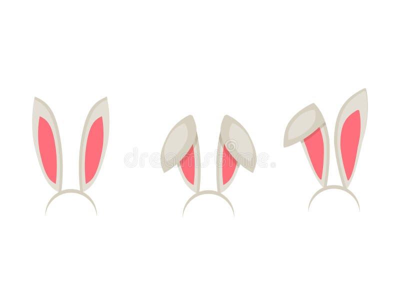 Τα αυτιά λαγουδάκι Πάσχας καλύπτουν το διανυσματικό σύμβολο λαγών κομμάτων διασκέδασης διακοσμήσεων κατοικίδιων ζώων διακοπών κιν ελεύθερη απεικόνιση δικαιώματος