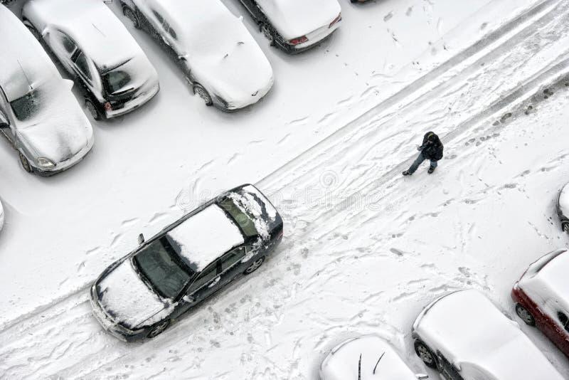 τα αυτοκίνητα κάλυψαν το σταθμευμένο χιόνι στοκ εικόνα με δικαίωμα ελεύθερης χρήσης