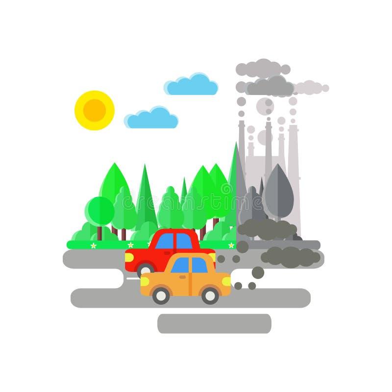 Τα αυτοκίνητα μολύνουν τον αέρα διανυσματική απεικόνιση