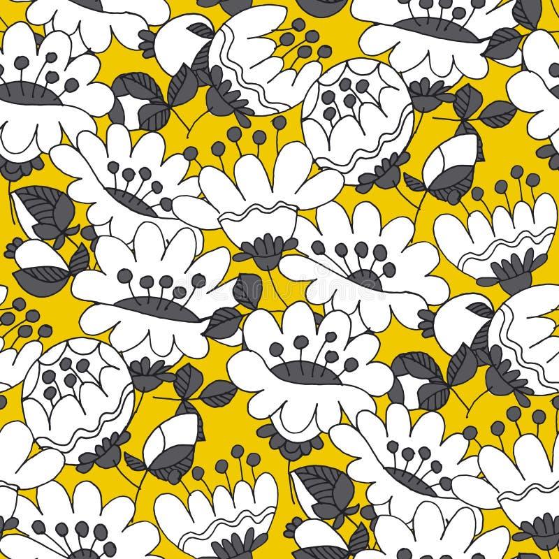 Τα αφηρημένα άσπρα λουλούδια δίνουν το συρμένο άνευ ραφής σχέδιο διανυσματική απεικόνιση