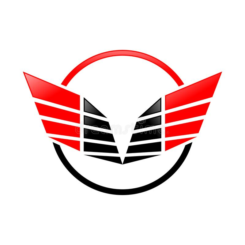 Τα αφηρημένα αιχμηρά φτερά χτυπούν το κόκκινο σχέδιο λογότυπων συμβόλων απεικόνιση αποθεμάτων
