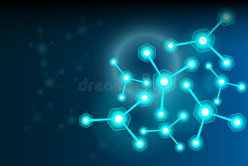 Τα αφηρημένα επιστημονικά μόρια είναι σκούρο μπλε υπόβαθρο ελεύθερη απεικόνιση δικαιώματος