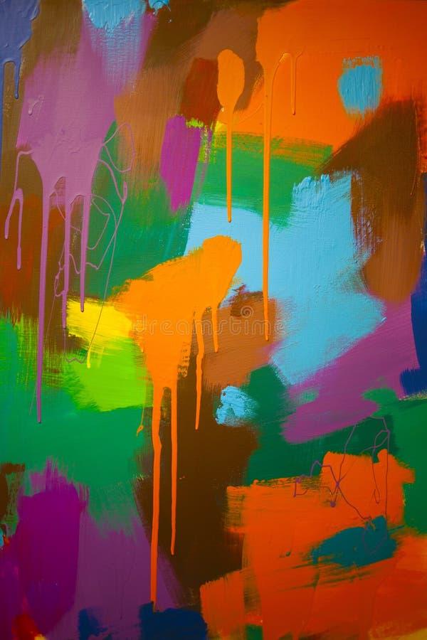 Τα αφηρημένα κτυπήματα του χρώματος στα διαφορετικά χρώματα στον καμβά στοκ φωτογραφίες