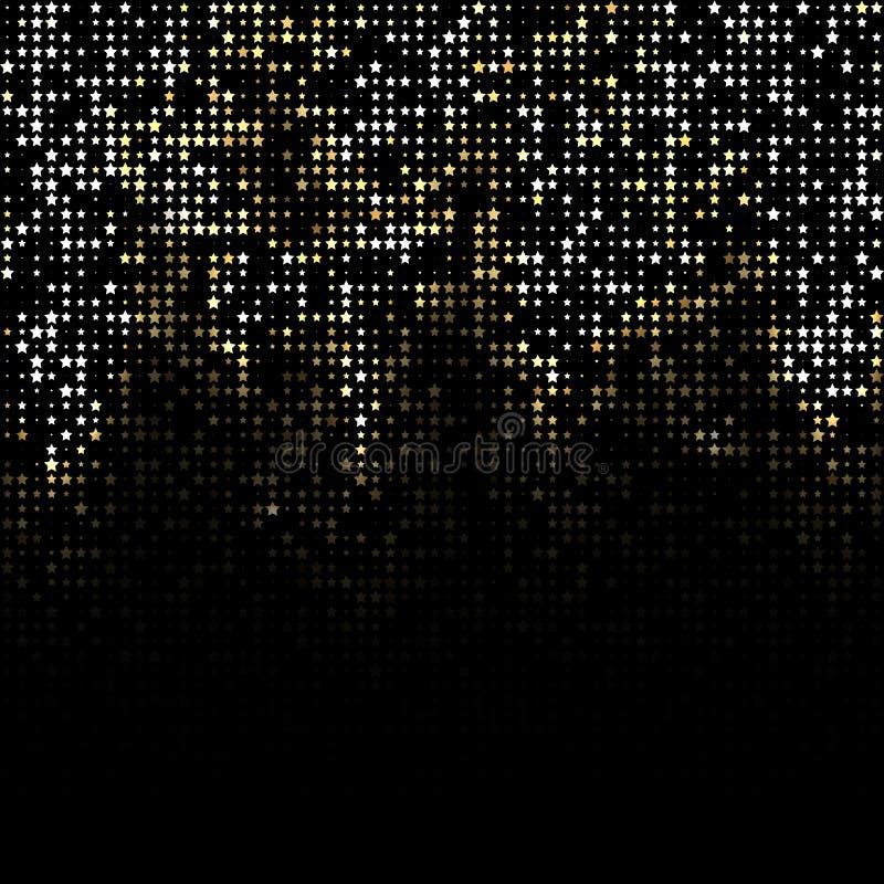 Τα αφηρημένα μειωμένα αστέρια Μαύρη ανασκόπηση απεικόνιση αποθεμάτων