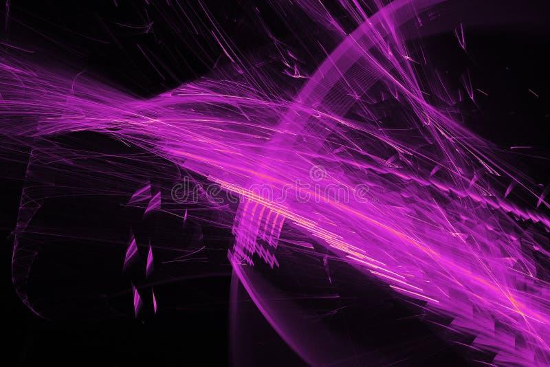 Τα αφηρημένα σχέδια στο σκοτεινό υπόβαθρο με τις πορφυρές γραμμές κάμπτουν τα μόρια διανυσματική απεικόνιση