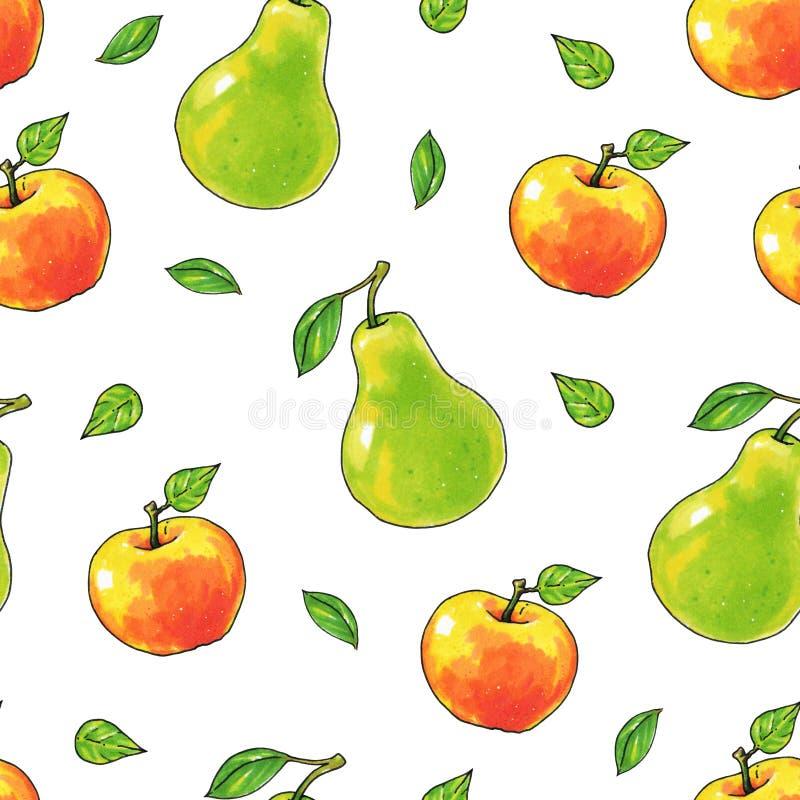 Τα αχλάδια και τα φρούτα μήλων είναι απομονωμένα σε ένα άσπρο υπόβαθρο τρόφιμα υγιή Χειροτεχνία Άνευ ραφής πρότυπο για το σχέδιο ελεύθερη απεικόνιση δικαιώματος
