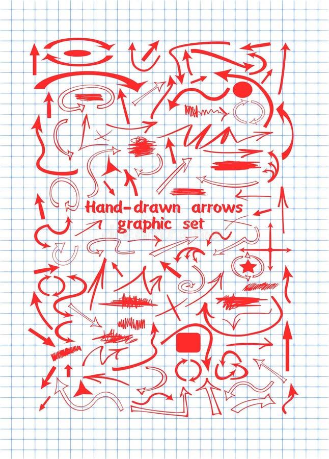 Τα βέλη στο κόκκινο μελάνι στο φύλλο σημειωματάριων απεικόνιση αποθεμάτων