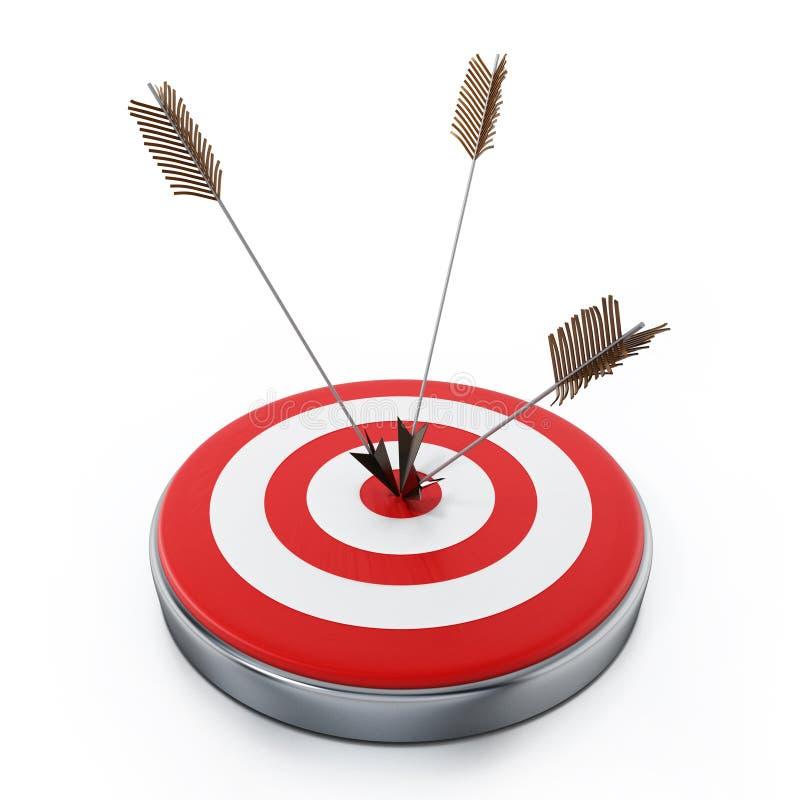 Τα βέλη χτυπούν ευθεία το στόχο bullseye τρισδιάστατη απεικόνιση απεικόνιση αποθεμάτων