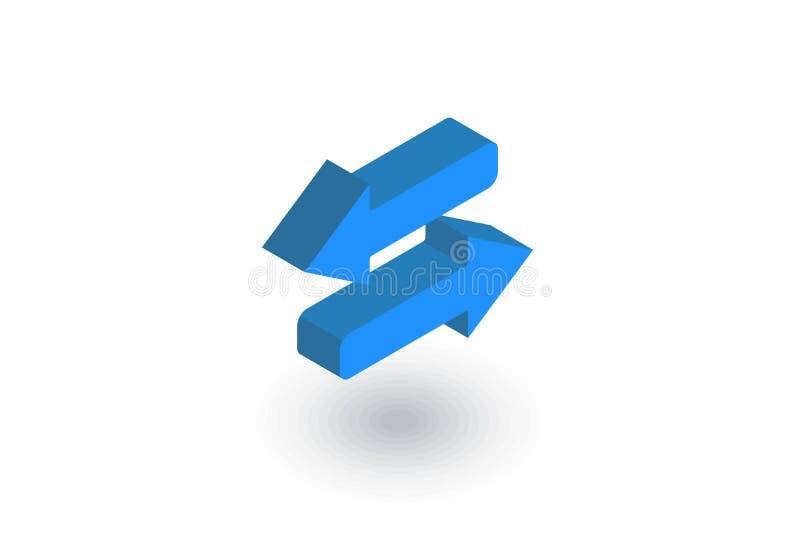 Τα βέλη ανταλλάσσουν το isometric επίπεδο εικονίδιο τρισδιάστατο διάνυσμα διανυσματική απεικόνιση