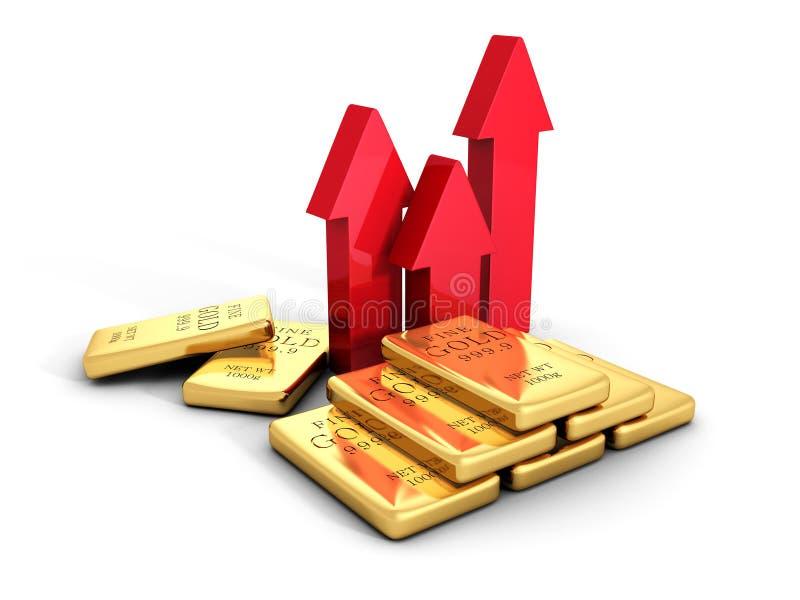 Τα βέλη αύξησης τιμών χρυσών ράβδων μεγαλώνουν χρυσή ιδιοκτησία βασικών πλήκτρων επιχειρησιακής έννοιας που φθάνει στον ουρανό ελεύθερη απεικόνιση δικαιώματος