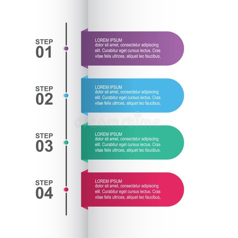 Τα βήματα επεξεργάζονται το σύγχρονο πρότυπο εμβλημάτων επιχειρησιακού Infographic μάρκετινγκ απεικόνιση αποθεμάτων