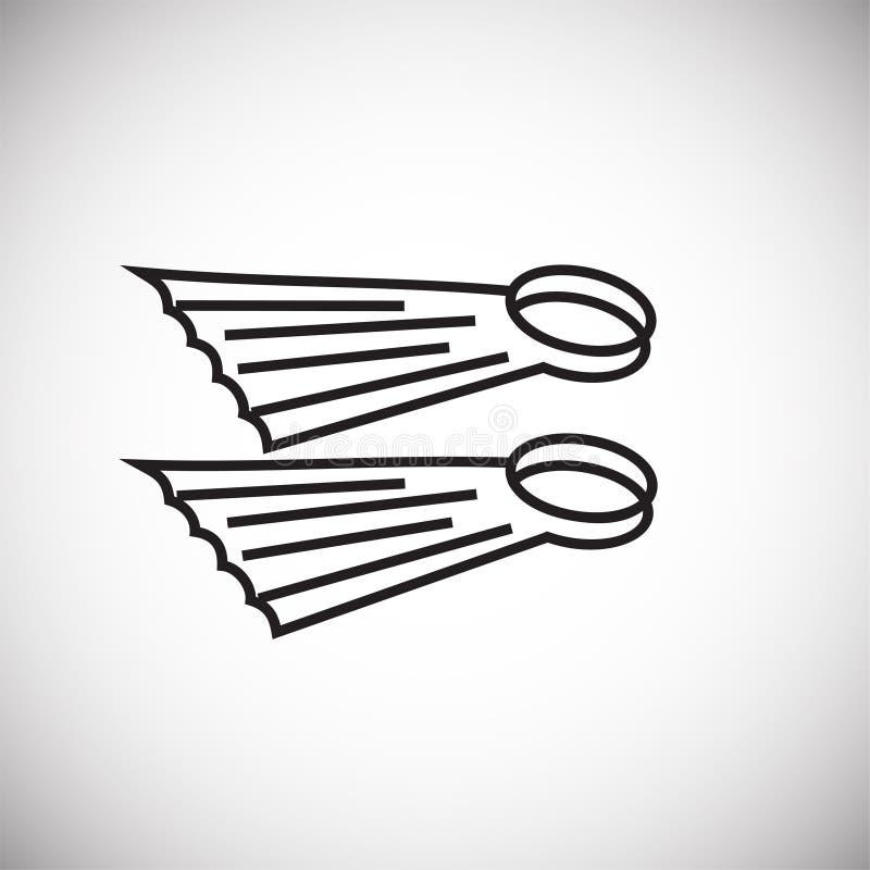 Τα βατραχοπέδιλα λεπταίνουν τη γραμμή στο άσπρο υπόβαθρο ελεύθερη απεικόνιση δικαιώματος