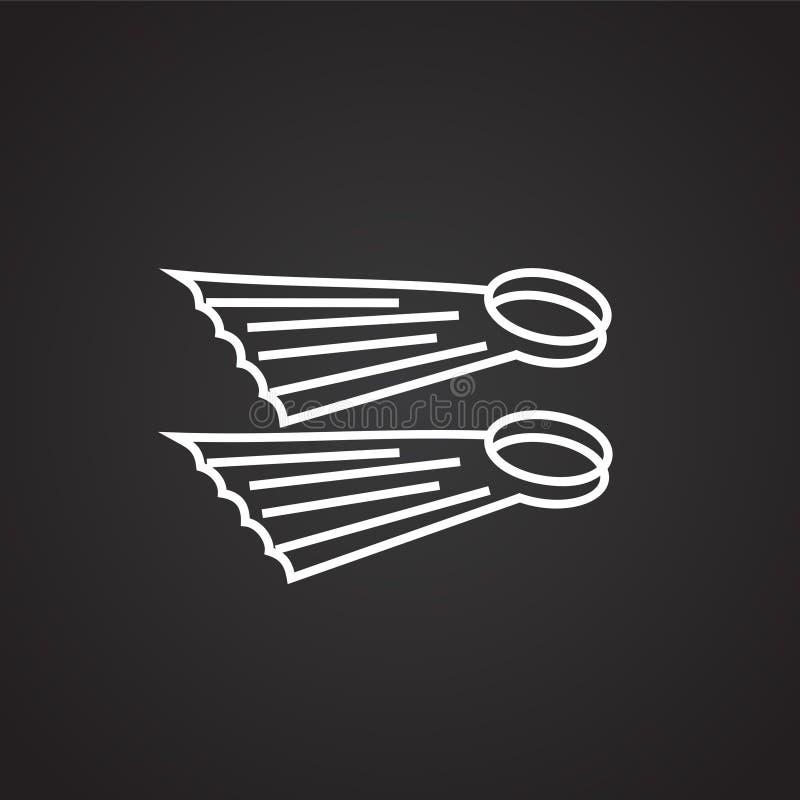 Τα βατραχοπέδιλα λεπταίνουν τη γραμμή στο μαύρο υπόβαθρο ελεύθερη απεικόνιση δικαιώματος