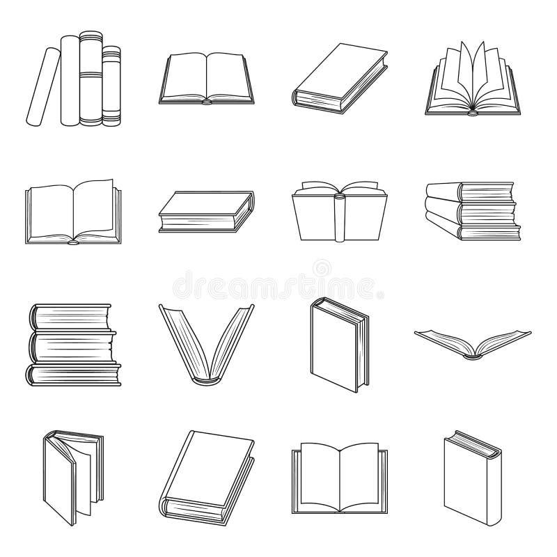 Τα βιβλία καθορισμένα τα εικονίδια στο ύφος γραμμών Μεγάλη συλλογή της διανυσματικής απεικόνισης αποθεμάτων συμβόλων βιβλίων ελεύθερη απεικόνιση δικαιώματος