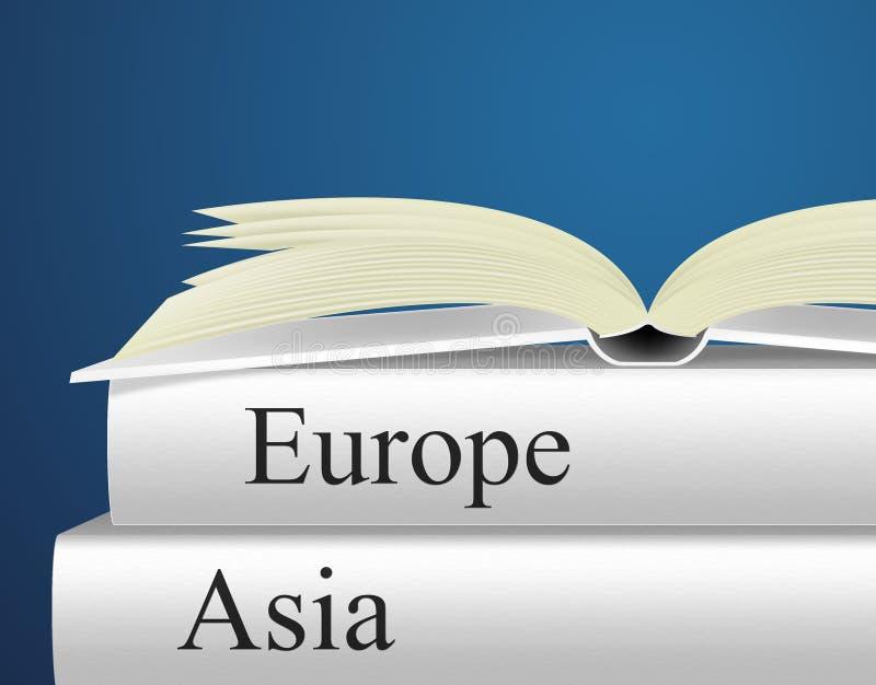 Τα βιβλία της Ευρώπης δείχνουν τον οδηγό και Ασιάτη ταξιδιού απεικόνιση αποθεμάτων