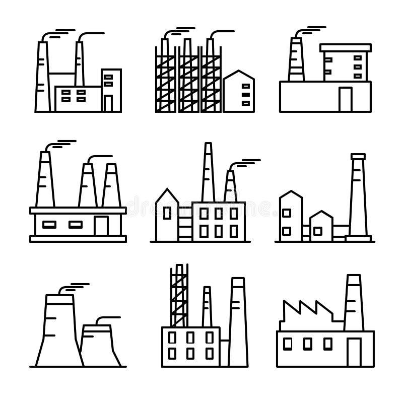 Τα βιομηχανικά κτήρια λεπταίνουν τα εικονίδια γραμμών καθορισμένα Εγκαταστάσεις και factrories Βαριά δύναμη και πυρηνικές εγκατασ ελεύθερη απεικόνιση δικαιώματος