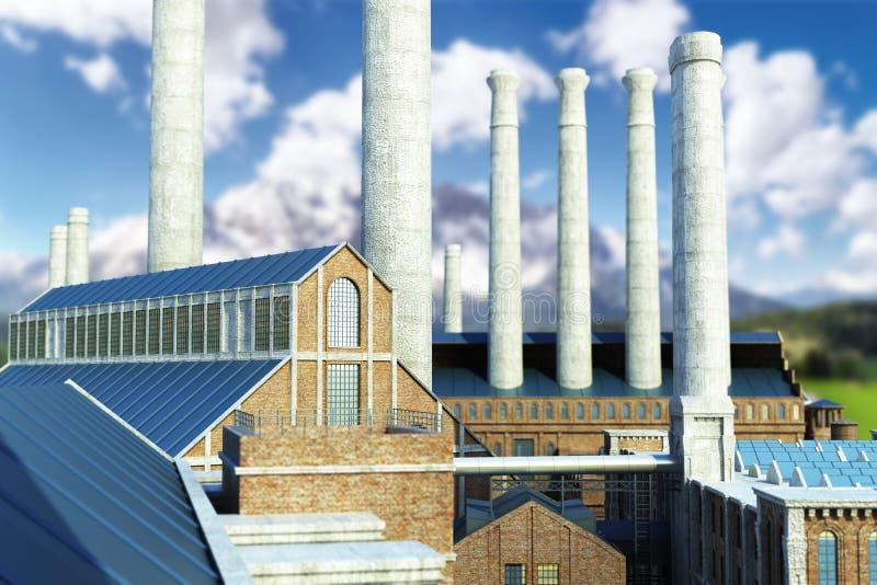Τα βιομηχανικά παλαιά βιομηχανικά κτήρια υποβάθρου τρισδιάστατα δίνουν ελεύθερη απεικόνιση δικαιώματος