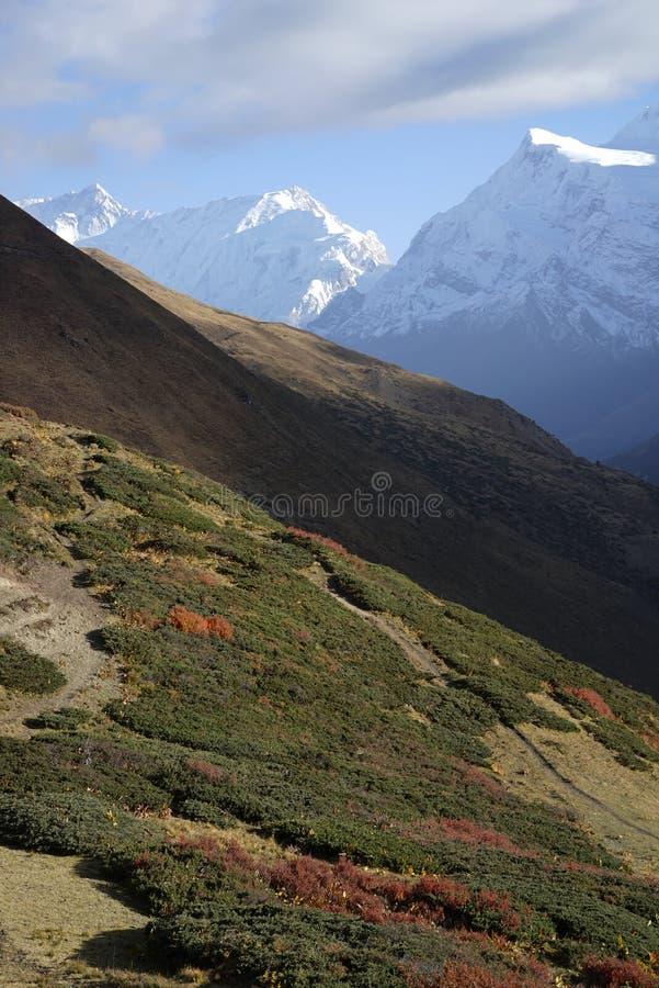 Τα βουνά στο κύκλωμα Annapurana στοκ φωτογραφίες