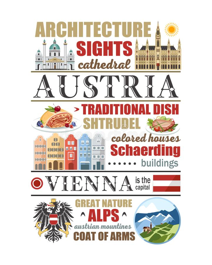 Τα βουνά φύσης αρχιτεκτονικής τροφίμων αφισών άρθρου συμβόλων της Βιέννης εμβλημάτων πληροφοριών κειμένων της Αυστρίας δηλώνουν τ διανυσματική απεικόνιση
