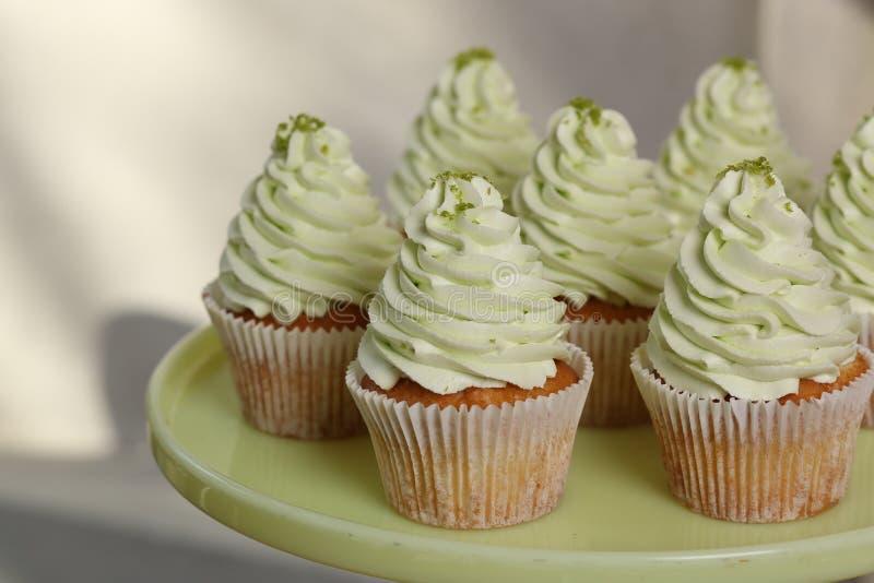 Τα γαστρονομικά cupcakes με το πράσινο πάγωμα buttercream και ψεκάζουν στο πιάτο κλείστε επάνω στοκ εικόνες