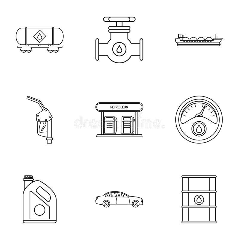 Τα γεμίζοντας εικονίδια βενζίνης καθορισμένα, περιγράφουν το ύφος απεικόνιση αποθεμάτων
