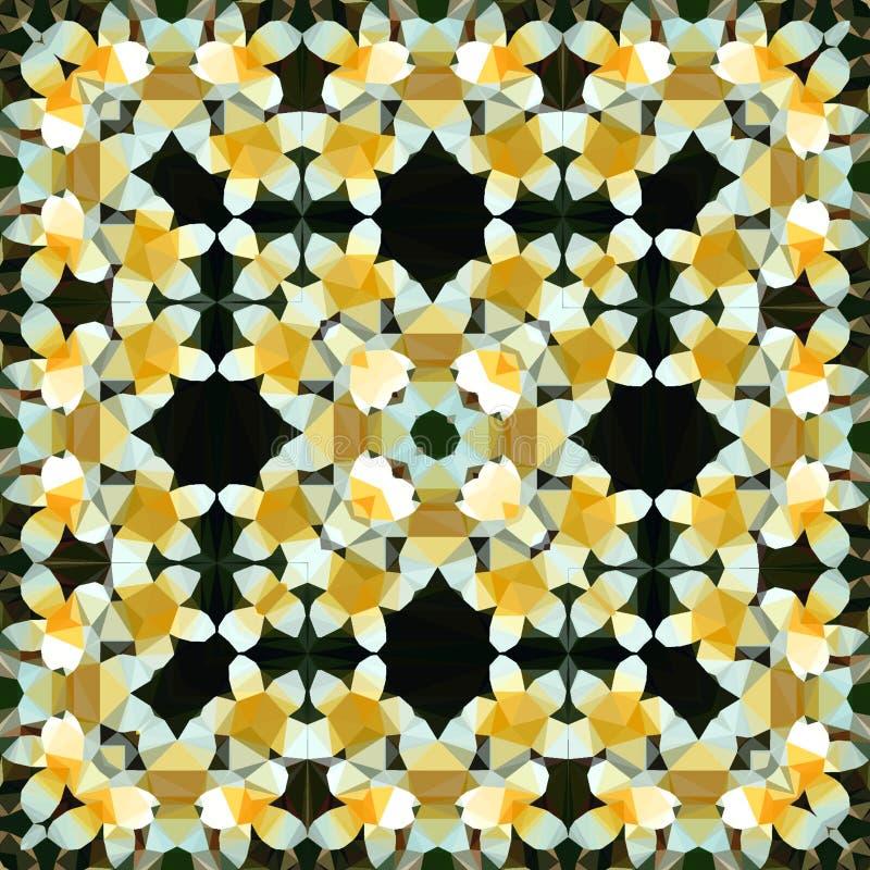 Τα γεωμετρικά αφηρημένα polygonal λουλούδια τακτοποιούν το σχέδιο κίτρινος και άσπρος, εικόνα της άνοιξη ελεύθερη απεικόνιση δικαιώματος