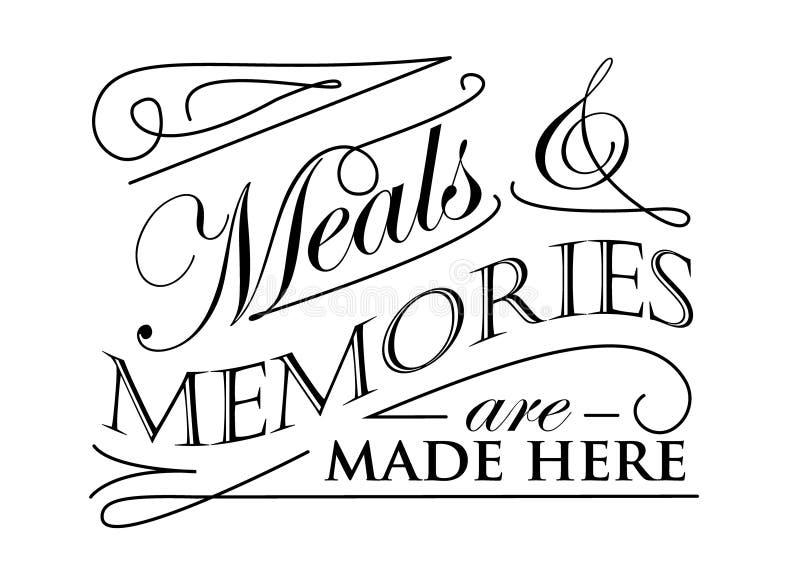 Τα γεύματα και οι μνήμες γίνονται εδώ το σχέδιο διανυσματική απεικόνιση