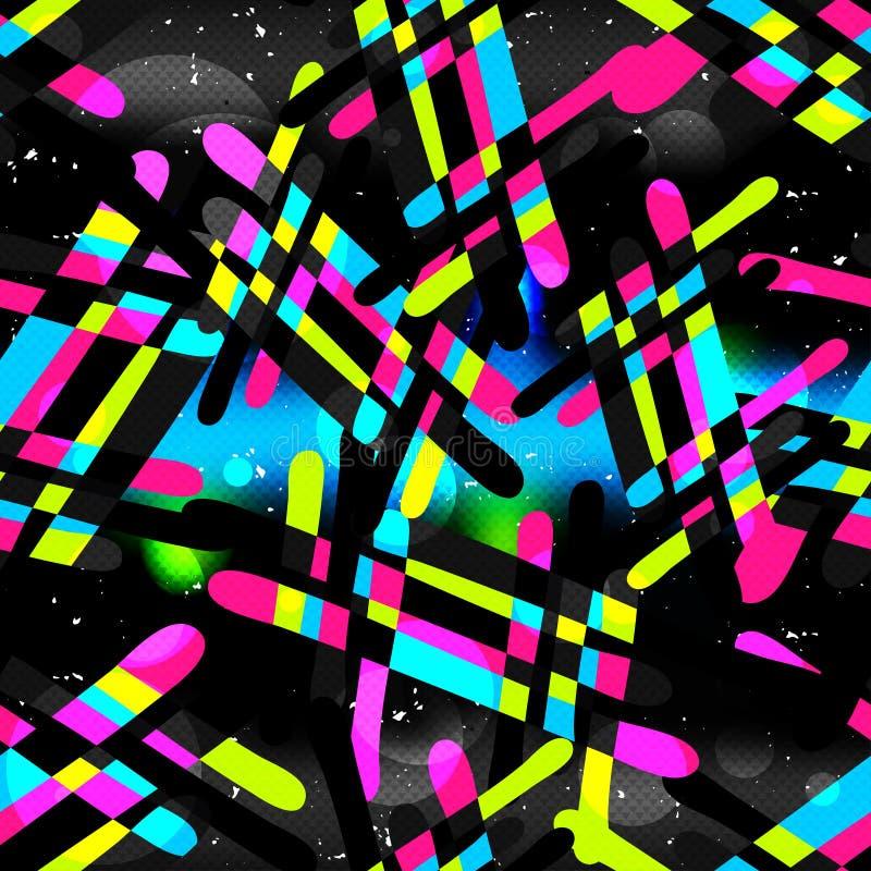 Τα γκράφιτι σε μια μαύρη περίληψη υποβάθρου χρωματίζουν την άνευ ραφής σύσταση σχεδίων grunge ελεύθερη απεικόνιση δικαιώματος