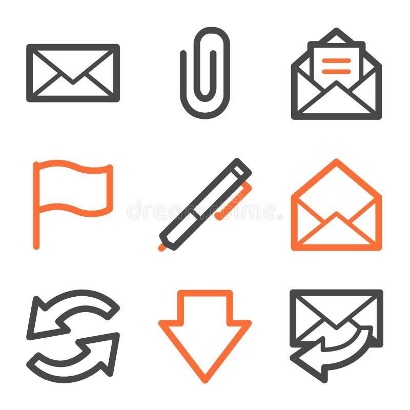 τα γκρίζα εικονίδια περιγράμματος ε ταχυδρομούν τον πορτοκαλή Ιστό σειράς διανυσματική απεικόνιση