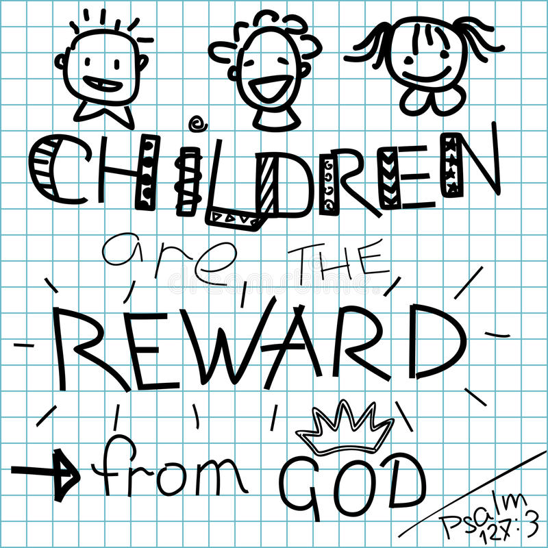 Τα γράφοντας παιδιά Βίβλων είναι μια ανταμοιβή από το Θεό σε ένα ελεγμένο υπόβαθρο απεικόνιση αποθεμάτων