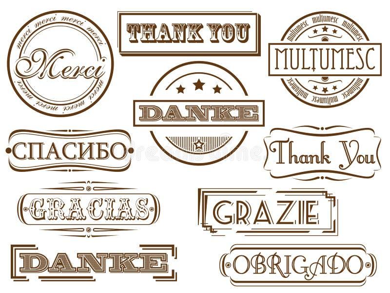 τα γραμματόσημα ευχαριστ απεικόνιση αποθεμάτων