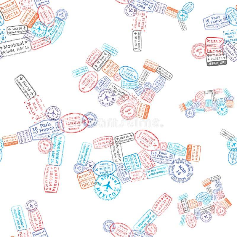 Τα γραμματόσημα μετανάστευσης τακτοποίησαν στη μορφή αυτοκινήτων, αεροπλάνων, σκαφών και τραίνων στο άσπρο, άνευ ραφής σχέδιο απεικόνιση αποθεμάτων