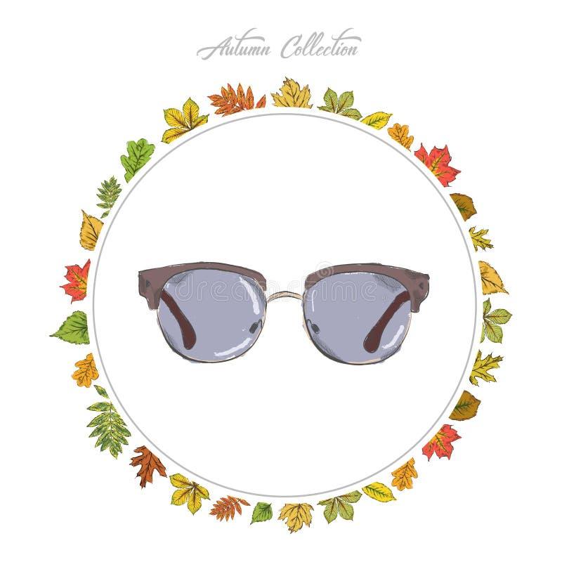 Τα γυαλιά ήλιων, χέρι σύρουν τα εξαρτήματα ζωηρόχρωμος πίνακας κολοκύνθης συλλογής φθινοπώρου Πλαίσιο στοκ εικόνα