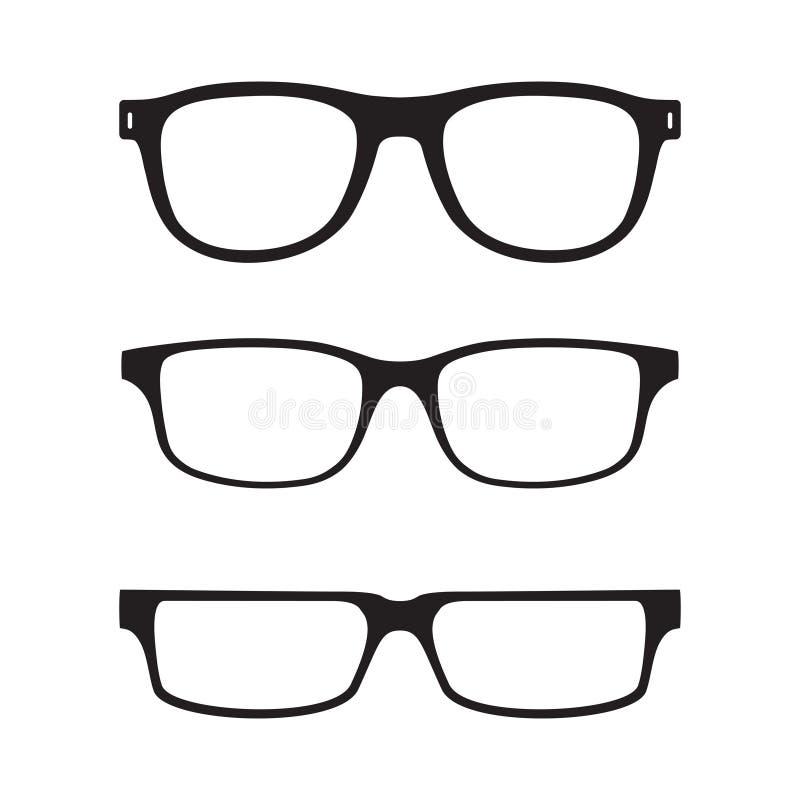 Τα γυαλιά καθορισμένα τα γραφικά εικονίδια στο επίπεδο σχέδιο ελεύθερη απεικόνιση δικαιώματος