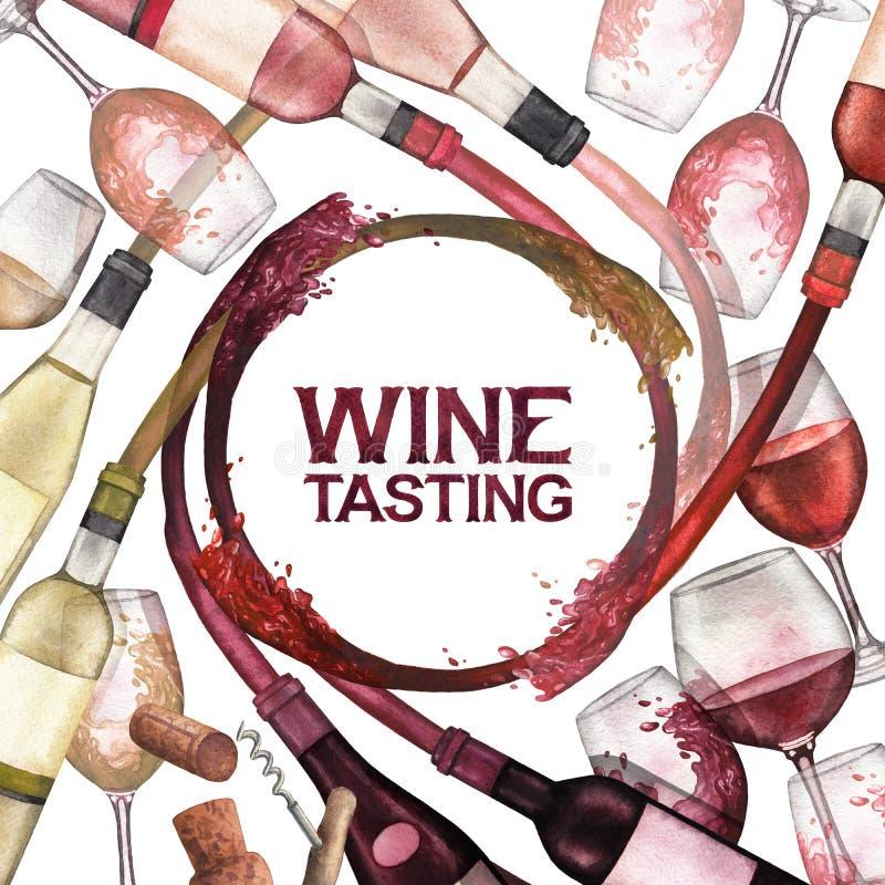 Τα γυαλιά και τα μπουκάλια Watercolor με το κόκκινο λευκό και αυξήθηκαν ράντισμα κρασιού από το απεικόνιση αποθεμάτων