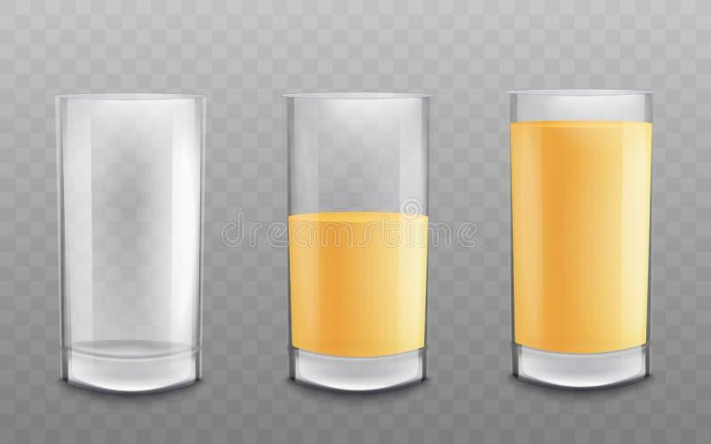 Τα γυαλιά κενά και που γεμίζουν με το χυμό ή πίνουν την τρισδιάστατη διανυσματική απεικόνιση που απομονώνεται διανυσματική απεικόνιση