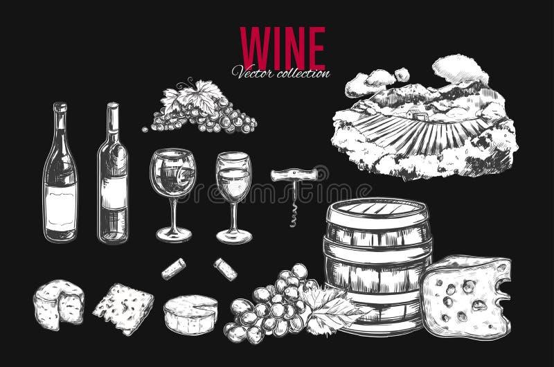 τα γυαλιά μπουκαλιών θέτουν σε επτά έξι το άσπρο κρασί διάνυσμα απεικόνιση αποθεμάτων