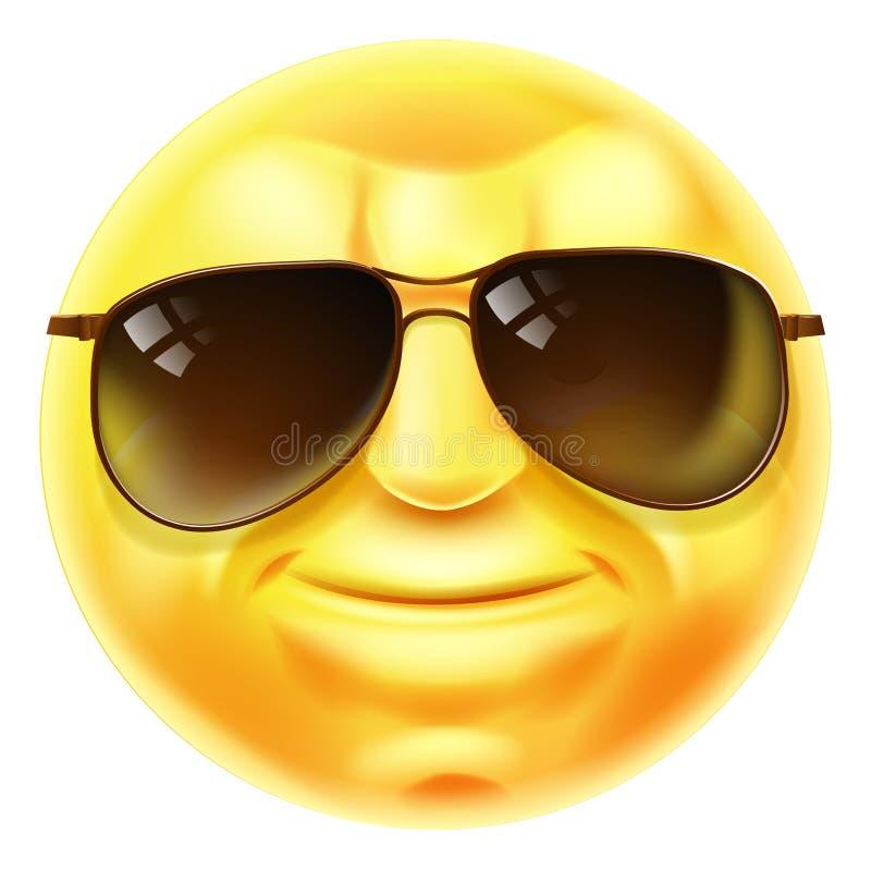 Τα γυαλιά ηλίου δροσίζουν Emoji Emoticon διανυσματική απεικόνιση