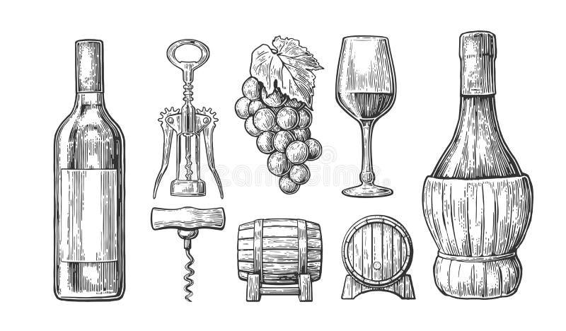 τα γυαλιά μπουκαλιών θέτουν σε επτά έξι το άσπρο κρασί Μπουκάλι, γυαλί, ανοιχτήρι, βαρέλι, δέσμη των σταφυλιών Μαύρη χαραγμένη τρ ελεύθερη απεικόνιση δικαιώματος