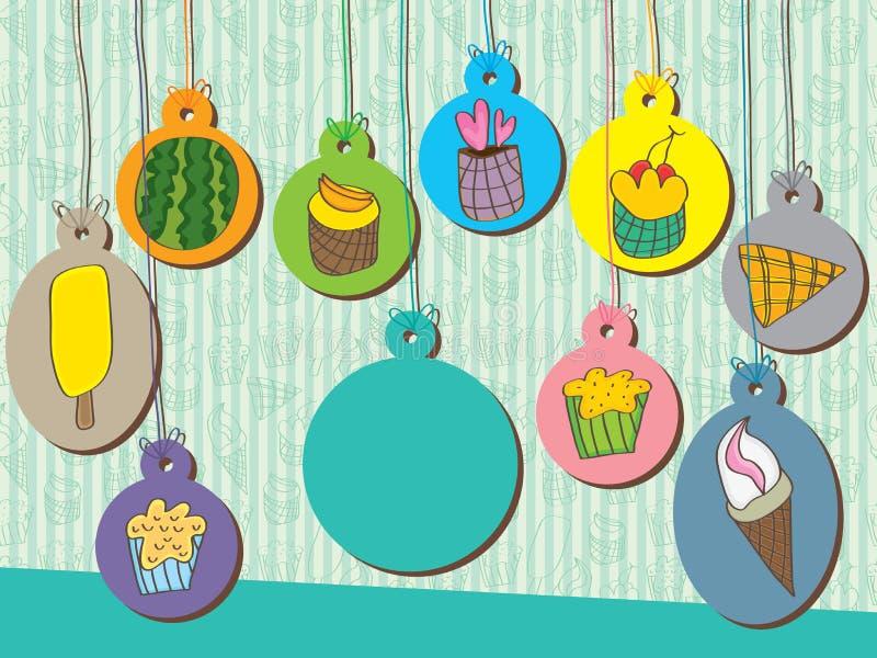 Τα γλυκά τρόφιμα κρεμούν την ετικέττα διανυσματική απεικόνιση