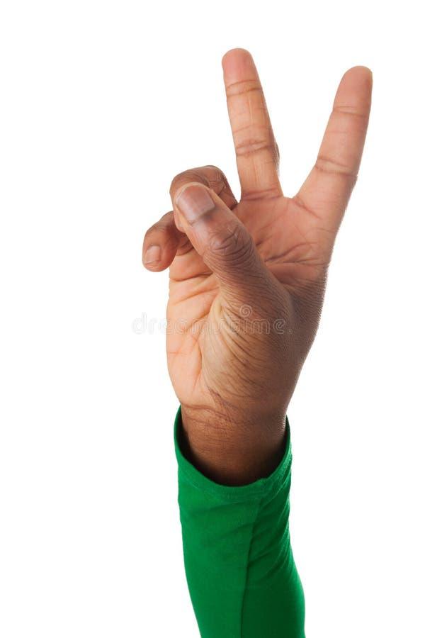Τα δάχτυλα διαμορφώνουν το σημάδι νίκης στοκ εικόνα