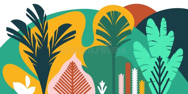 Τα δέντρα είναι πλατύφυλλα τροπικά, φτέρες Επίπεδο ύφος Συντήρηση του περιβάλλοντος, δάση πάρκο, υπαίθριο διανυσματική απεικόνιση